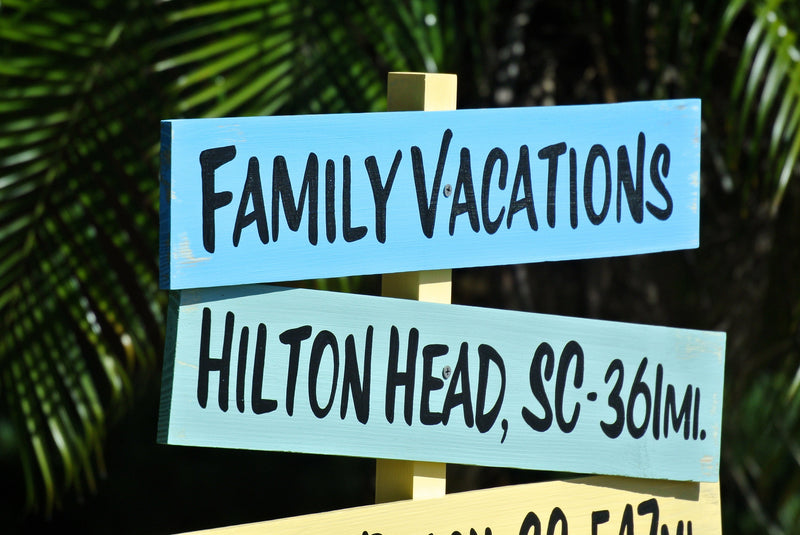 Family Vacations Directional Sign Wood. Housewarming Gift for parents
