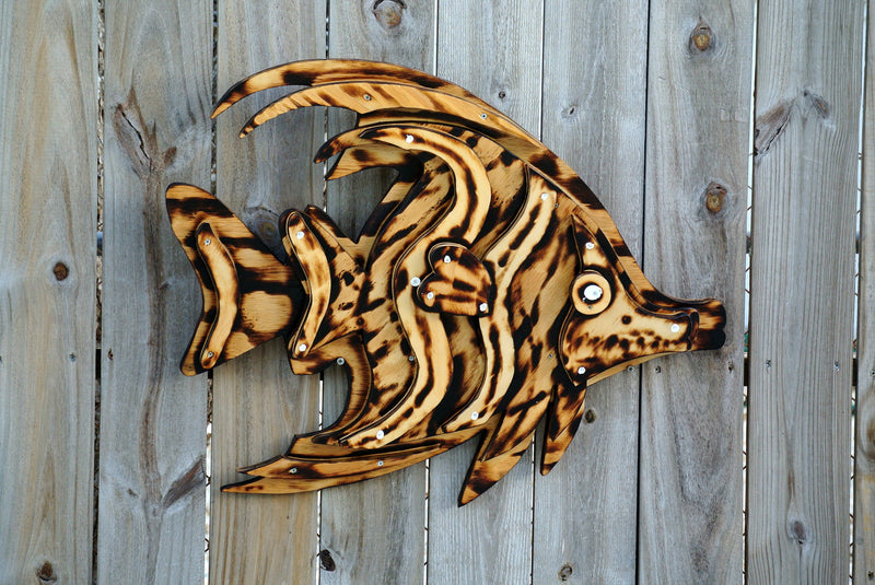 3D Wood Fish Wall Art. Patio decor. Birthday Gift for men.  gift idea.