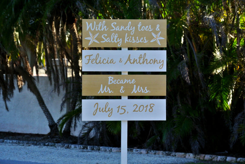 Welcome Gold wedding sign wood. Sandy toes and Salty kisses. Gift for couple