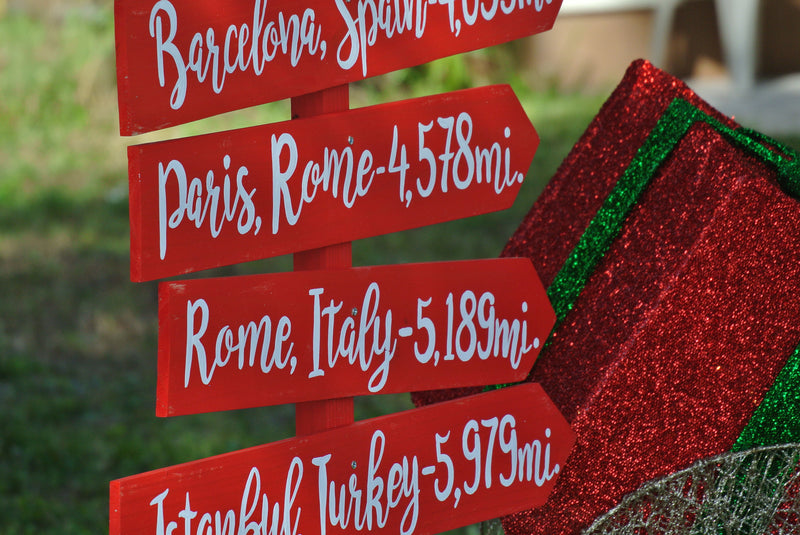 Christmas decor for garden. Directional signs gift for family.