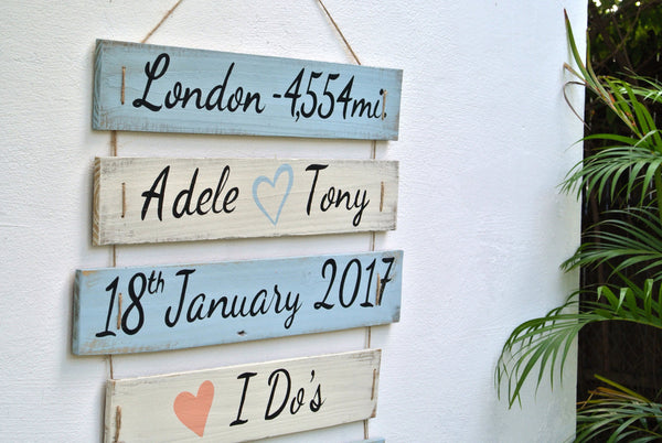 Wedding I Do's sign on Rope. Beach wedding decor. Gift for newlywed for