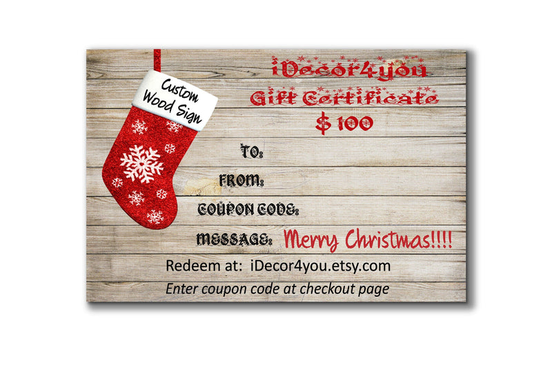 Christmas Gift Certificate Template Personalized