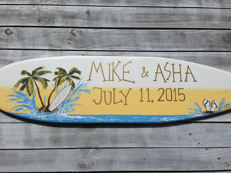 Tropical wedding sign. Surfboard wood Gift for couple.
