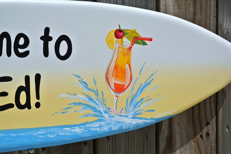 Welcome to home sign custom. Surfboard wall art wood. Housewarming gift