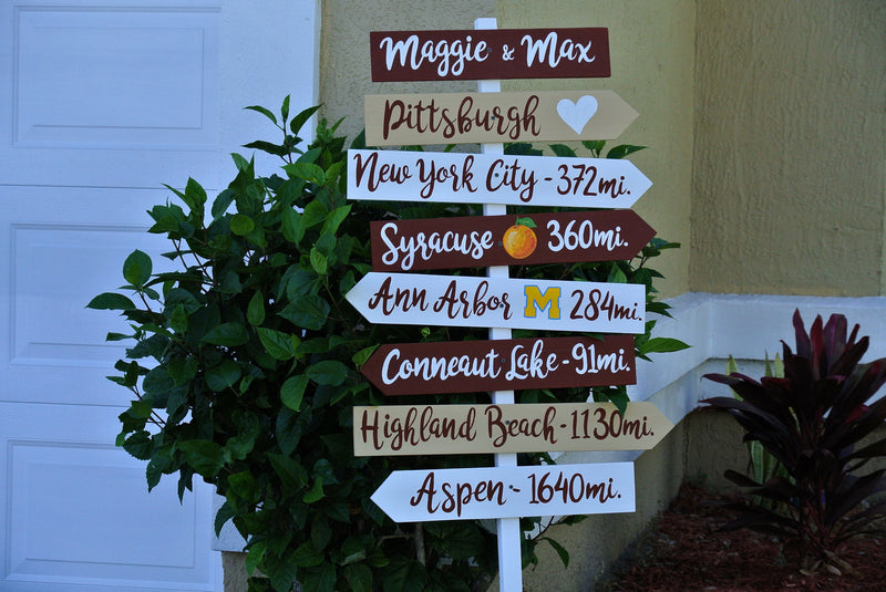 Personalized wedding name Directional sign wood. Country Wedding Decor. Gift for couple