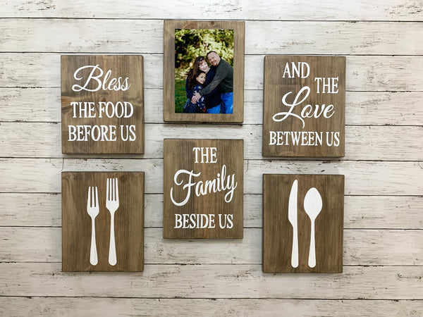 Kitchen blessing signs with family photo. Wall decor set rustic.
