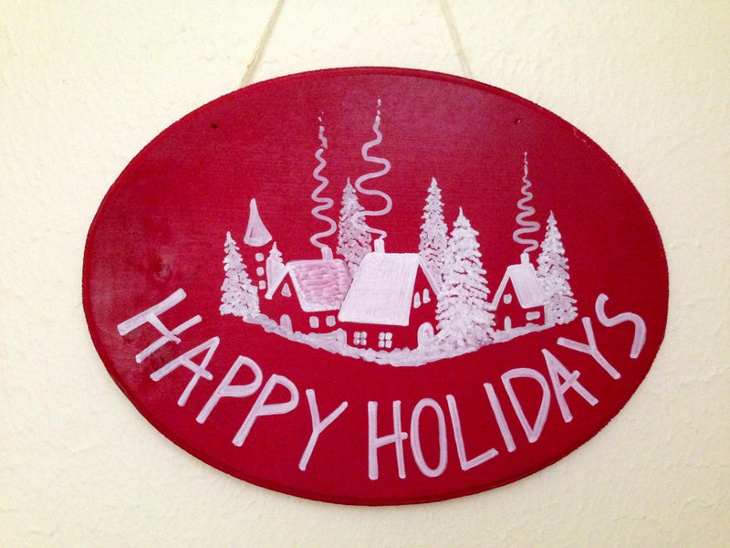 Happy Holidays wood sign,  decoration,  wall decor, Personalized  gift.
