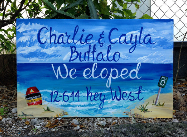 Beach Wedding Sign, Wood Guest Book Alternative, We Eloped Sign, Beach Wedding Decor Key West Beach Wedding