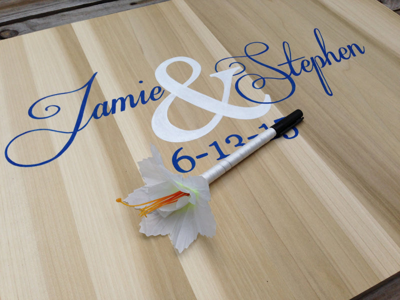 Newlywed  Gift Rustic Wedding Guest Book Alternative Wood Sign, Wedding Guest Book Idea Wood Guest Book Gift with Decorative Pen
