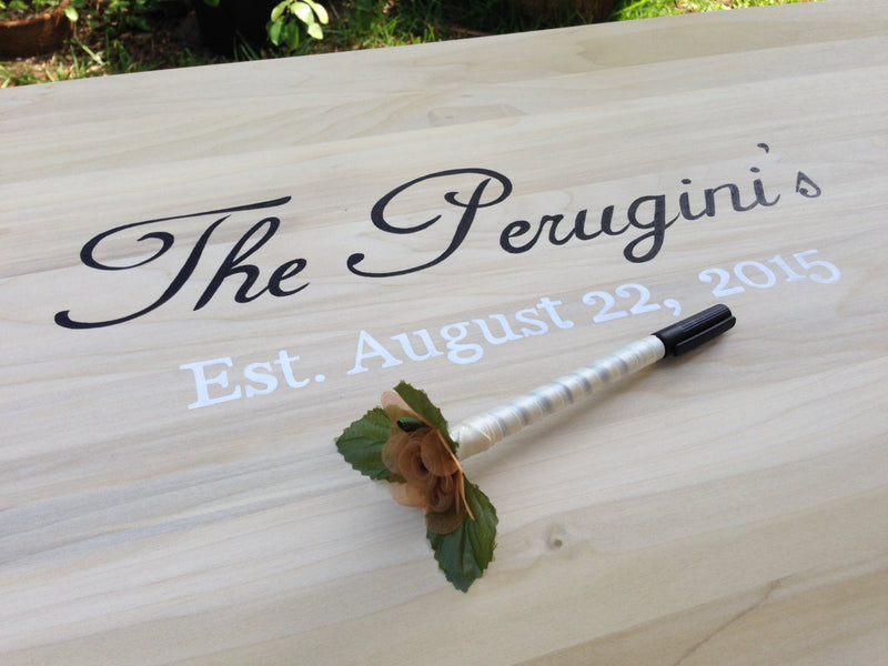 Newlywed  Gift New Guest Book Idea. Wedding Guestbook sign with Decorative Pen. Signature board for guests