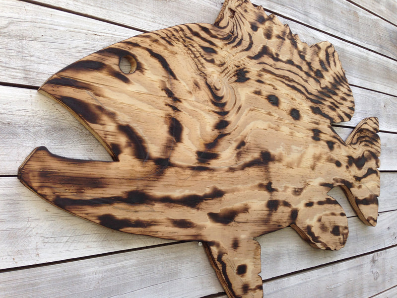 Gift for parents, Large Outdoor Wall Art Fish Decor, Coastal Fish Sign, Goliath Grouper Wood Sign Outdoor, Fisherman's gift, Man Cave decora