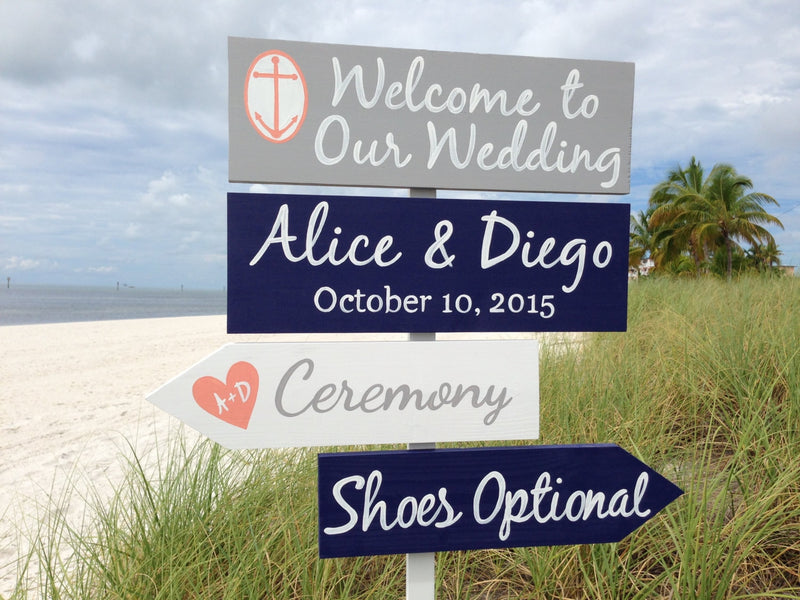 Silver Wedding Welcome Sign, Nautical wedding decor for beach ceremony