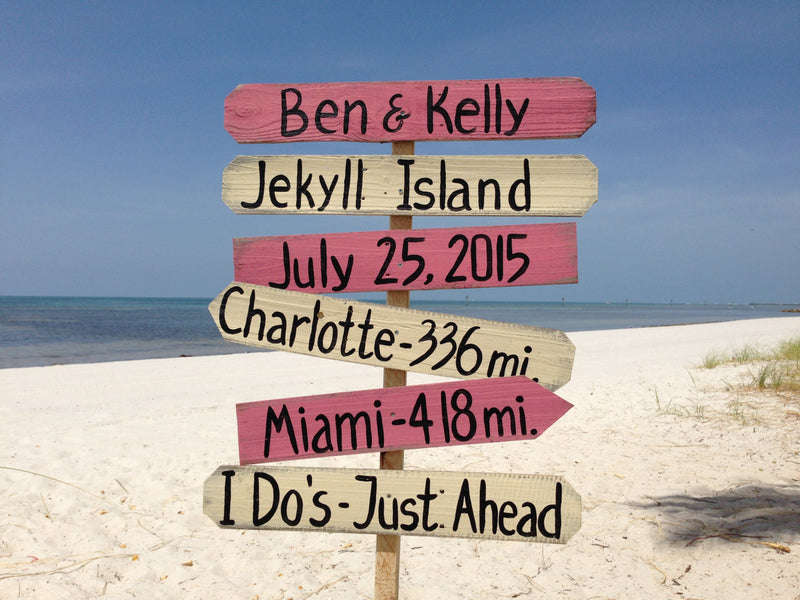 Rustic wedding direction sign for ceremony. Beach wedding decor gift