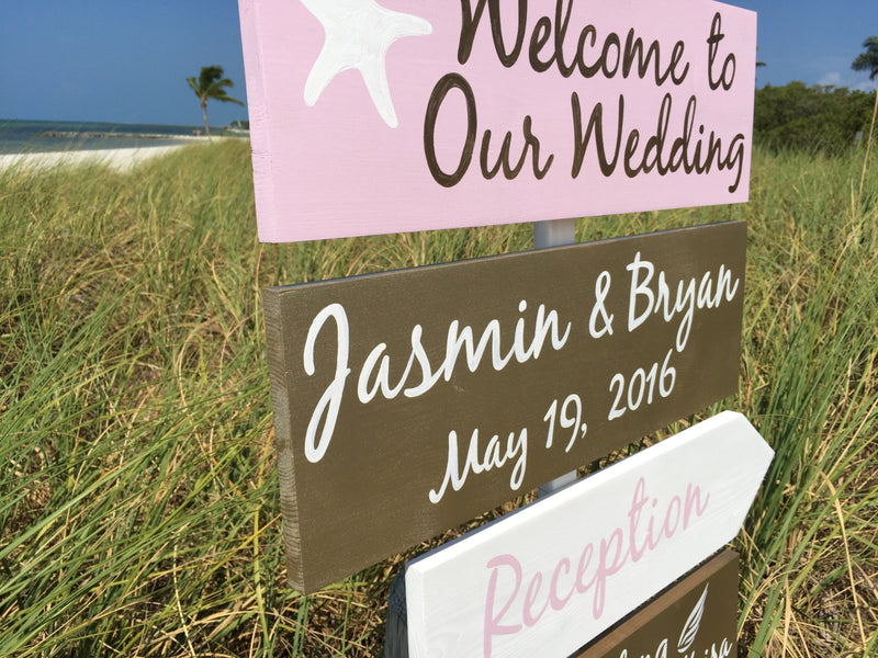 Pink and Gold Wedding Decor, Beach Welcome Wedding Sign, Starfish Gold Reception Decorations,