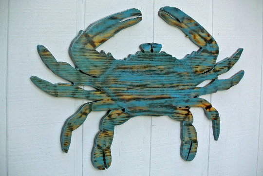 Large Crab Wooden Sign, Beach House Decor, Wooden Crab wall Art, Sea food sign-iDecor4you