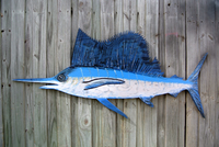Large Sailfish Blue Marlin Wood Sign. Blue Marlin wooden fish wall art. Fisherman Gift Idea.-iDecor4you