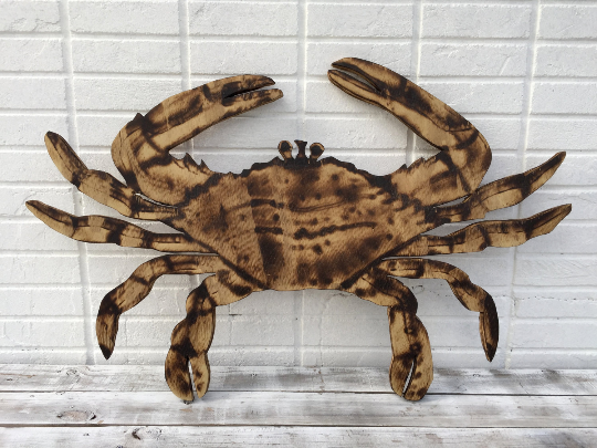 Large Wooden Crab Decor, Rustic Wood Crab Wall Art, Wooden Outdoor house sign-iDecor4you
