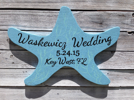 Ocean Blue Wedding Sign, Starfish Wood Sign, Wedding guestbook alternative idea.-iDecor4you