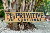 Outdoor Business Sign. Front Primitive Survivors Sign. Logo Advertising Signage. Carved wooden sign.-iDecor4you