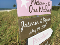Rose Gold Wedding Decor, Beach Welcome Wedding Sign, Starfish Gold Reception Decorations-iDecor4you
