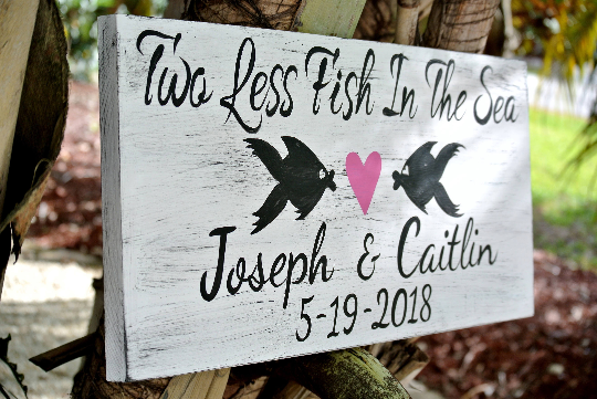 Rustic Beach wedding sign. Two Less Fish Date Wedding Decor, Wedding announcing signage.-iDecor4you