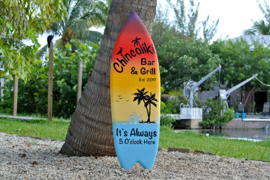 Tiki bar decor. Custom Oasis Family sign. Housewarming gift for mom. Beach house surfboard sign.-iDecor4you