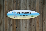 Tiki Bar Surfboard Signs. Lake Beach House Family name wooden sign. Housewarming gift.-iDecor4you