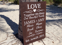 Together We Make A Family - Love Wedding Sign. Rustic wedding decor, Dark Wood Family name board.-iDecor4you
