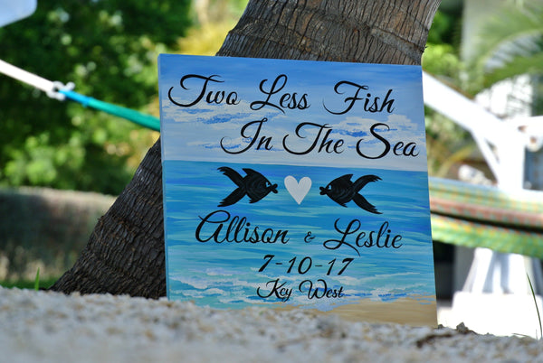 Two Less Fish In The Sea Signage, Nautical Wedding sign, Tropical decor for wedding-iDecor4you