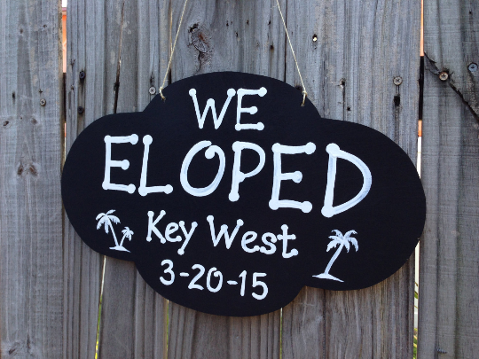 We Eloped Rustic Sign, Palm Tree Beach Wedding Decor, Ring bearer/Flower girl sign.-iDecor4you