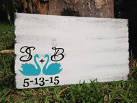 Wedding gift idea, Rustic Guest Book with Swans, Guest Book Alternative with Initials.-iDecor4you