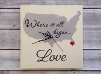 Wedding gift idea, Where it all Began Map, Wedding Wall Clock , Unique State Map Sign-iDecor4you