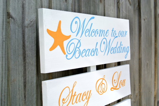 Wedding Welcome Directional Sign, Wood Signage Gift for couple, Starfish decor.-iDecor4you