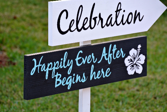Wedding welcome sign, Beach Wedding Decor, Happily Ever After Wedding Gift Idea-iDecor4you