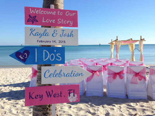 Welcome To Our Love Story Beach Ceremony Decor, Pink and White Directional Sign.-iDecor4you