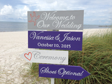 Welcome Wedding Directional Sign, Beach Ceremony Decor, Shoes Optional arrow signage-iDecor4you