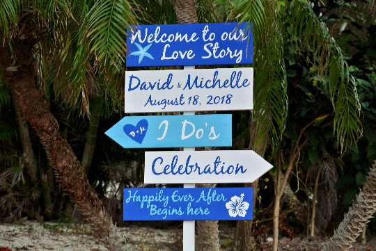 Welcome Wedding Sign, Royal Blue Beach Decorative Directional Signage, Gift for Couple-iDecor4you