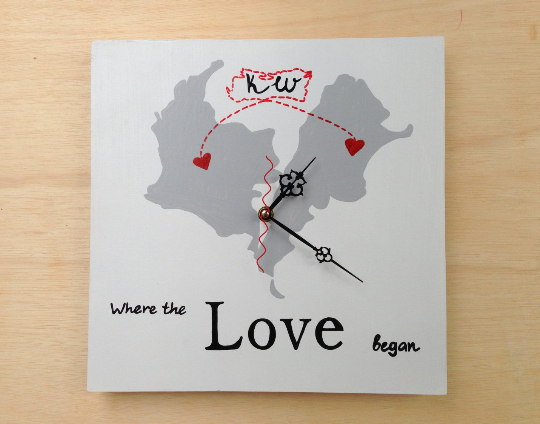 Where the Love began Wall Wooden Clock, Map wedding sign, Destination wedding decor-iDecor4you