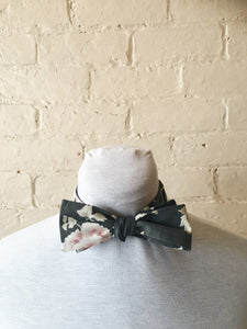 Bow Tie - Black with Pale Flowers