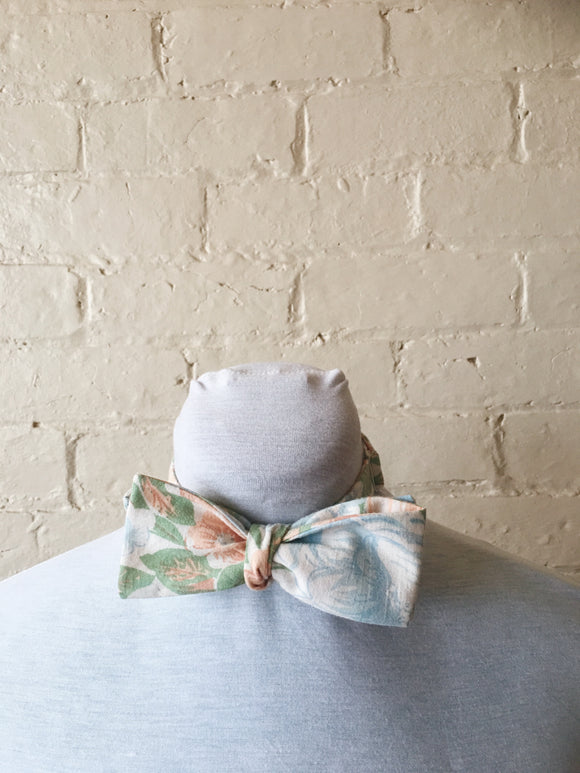 Bow Tie - Coral and Blue Floral
