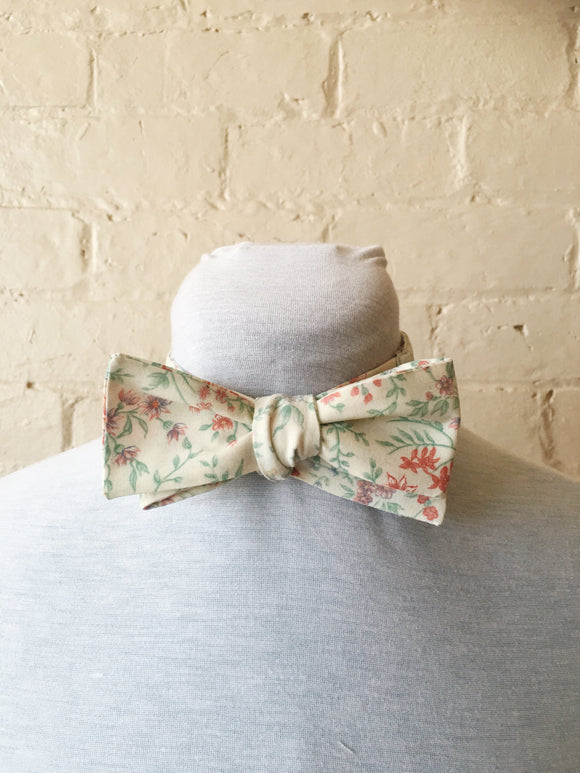 Bow Tie - Floral on White