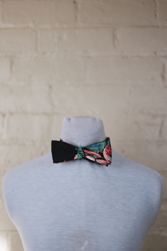 Bow Tie - Black and Pink Floral