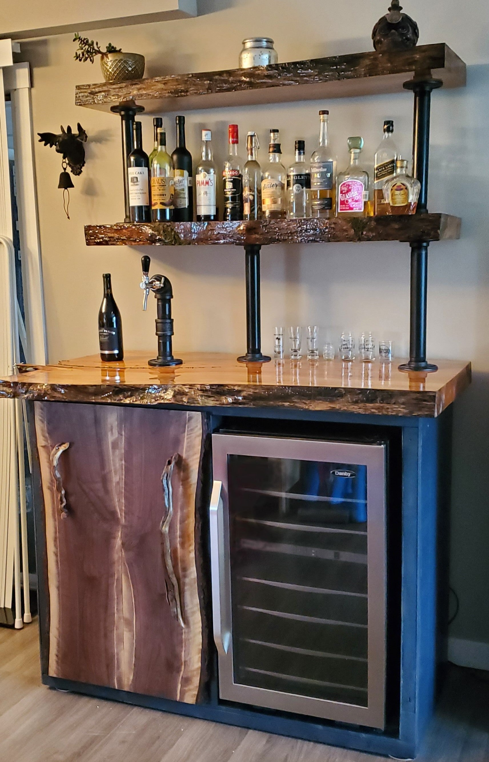 The Lid Lube Ultimate DIY Kegerator. Live Edge Maple with Inlaid Moss, Walnut Door and Wine Fridge!