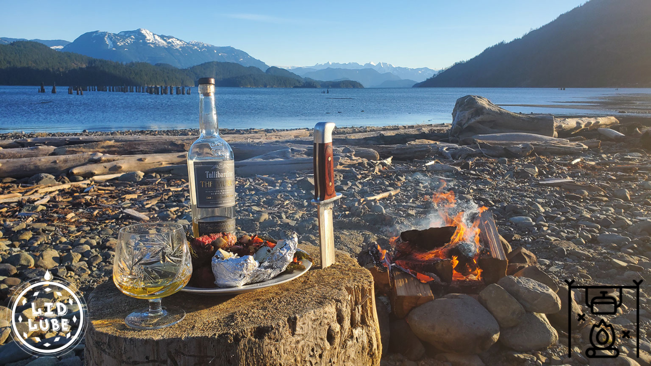 Lid Lube Steak on the Lake Camp Fire Cooking Scotch Knife Mountains