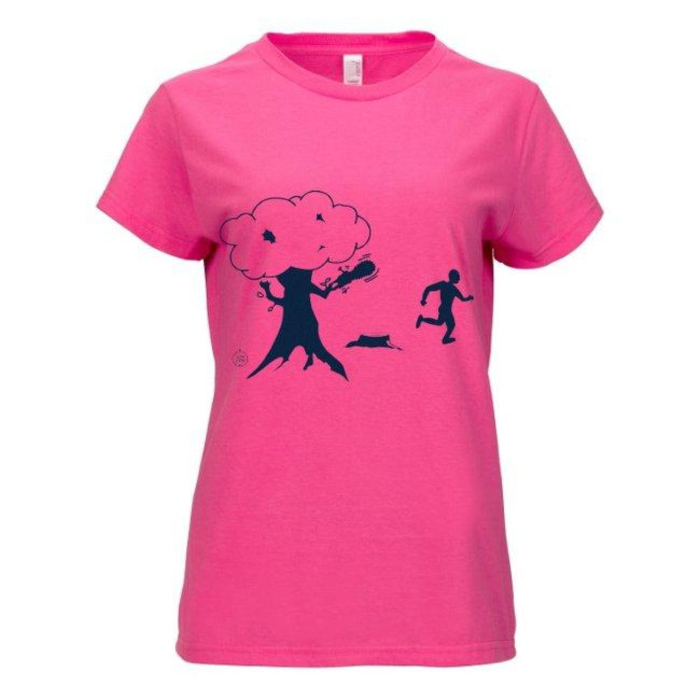 Lid Lube Women's Chainsaw Tree T-Shirt | Funny Environmentalist shirt for women