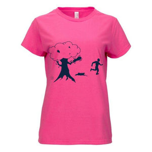 Lid Lube Women's Chainsaw Tree T-Shirt | Pink | 100% Premium Cotton