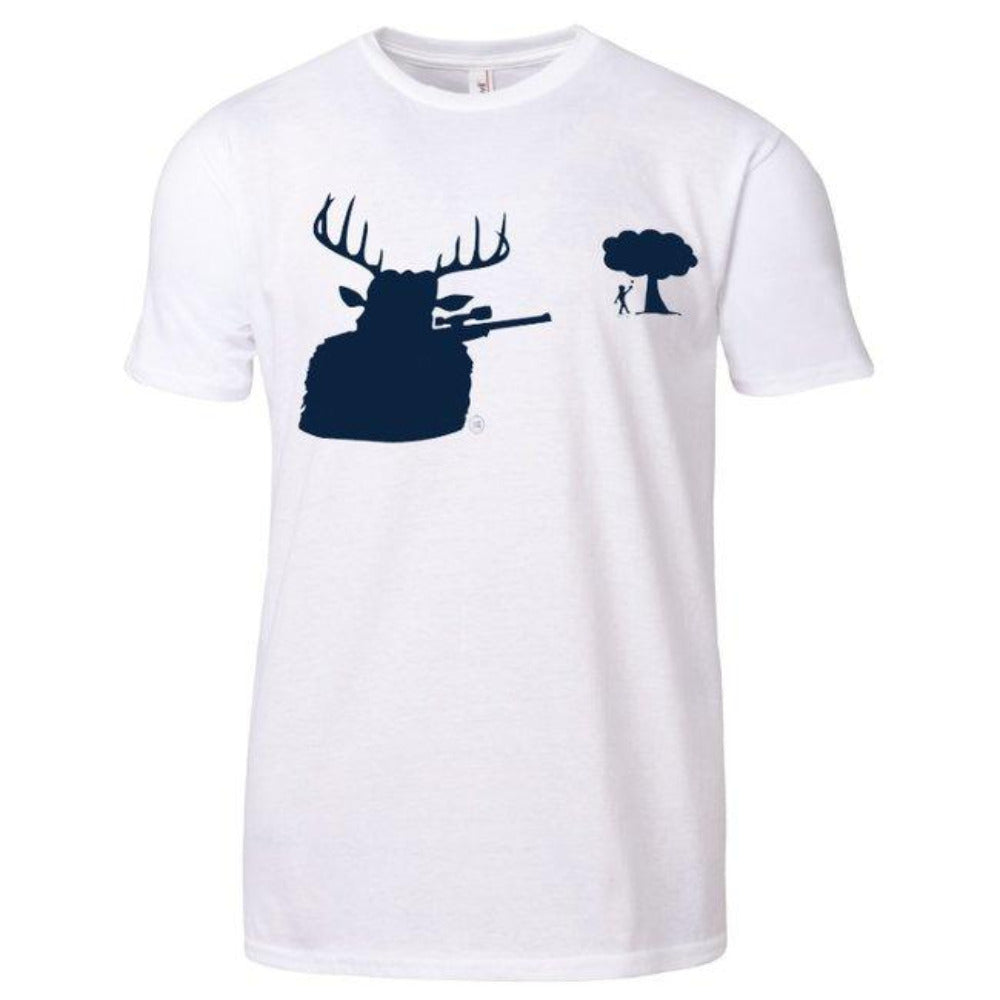 Lid Lube Deer Shooter T-Shirt | White | 100% Premium Cotton
