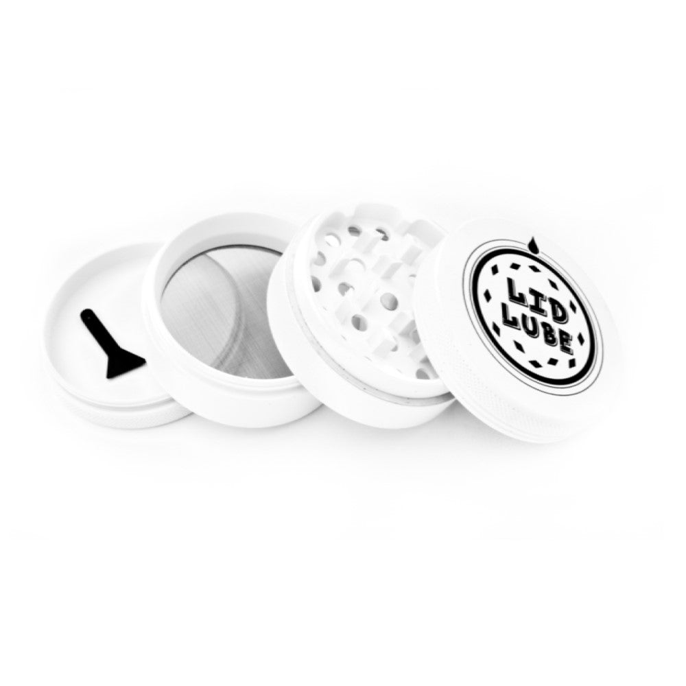 Lid Lube 4 piece 63mm(2.4in) Aluminum Alloy Silicone Coated White Grinder