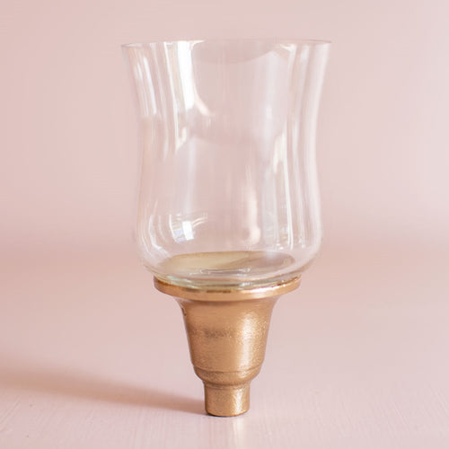 Votive Candle Holder, Glass Candelabra Attachment, Champagne Gold