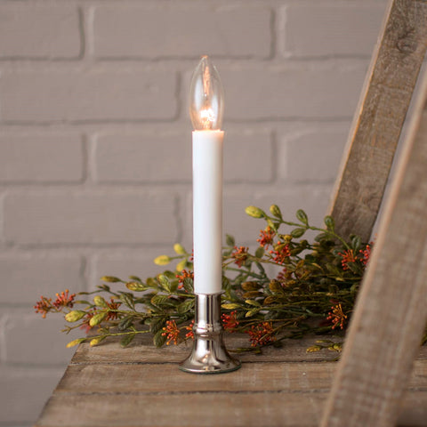 "Flameless Bridal Wedding Candle-Silver Base, 8.5"". 2 pack, Battery Operated"